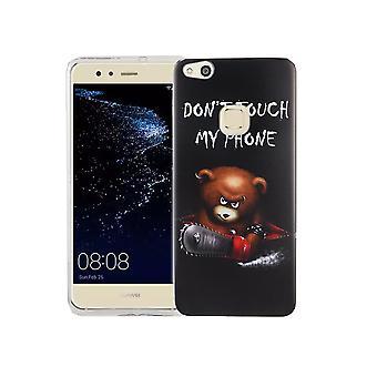 Mobile Shell dla Huawei P10 Lite pokrywa case torba ochronna motyw slim TPU + zbroi ochrony szkła 9 H logo niedźwiedź z piłą łańcuchową