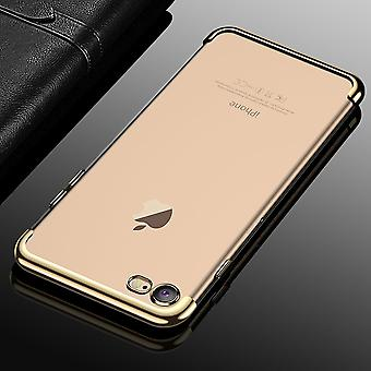 Cell phone cover case voor Apple iPhone 7 / 8 transparant transparante goud