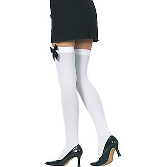 Stockings white with bow black overknee accessory Carnival