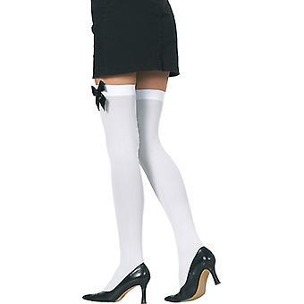 Kousen wit met strik zwarte overknee accessoire carnaval