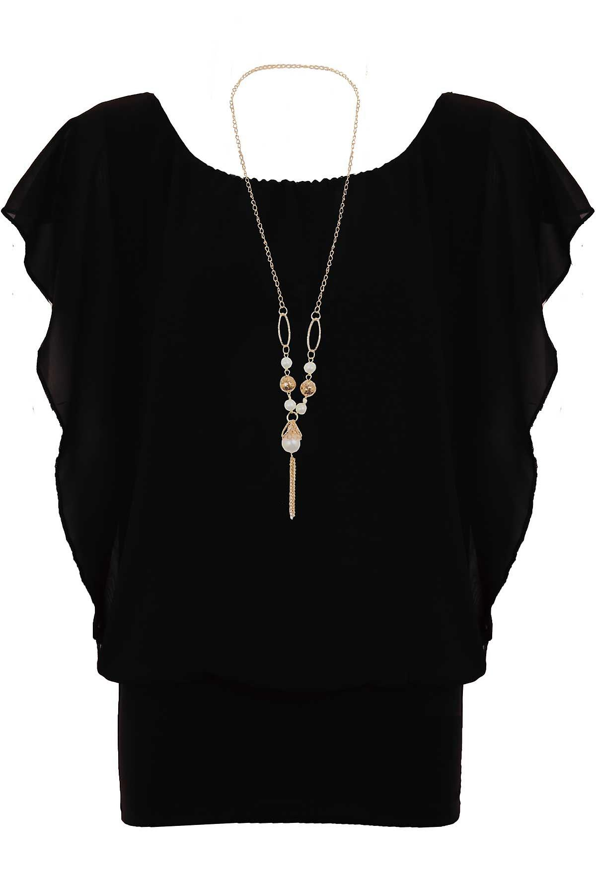Ladies Batwing Chiffon Baggy Lined Pearl Butterfly Necklace Women's Blouse Top