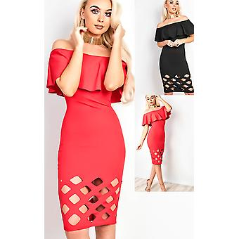 IKRUSH Womens Samanthia Lasercut Off Shoulder Bodycon Dress