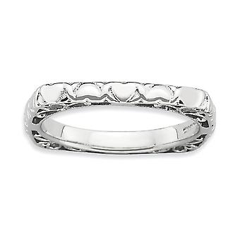 2.25mm 925 Sterling Silver Rhodium plated Stackable Expressions Polished Rhodium plate Square Ring Jewelry Gifts for Wom