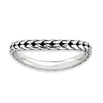 2,25 mm 925 Sterling Silber poliert gemustert Finish stapelbare Ausdrücke Welle Ring Schmuck Geschenke für Frauen - Ring Größe