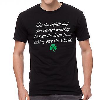 On The Eighth Day God Created Whiskey Irish Graphic Men's Black T-shirt