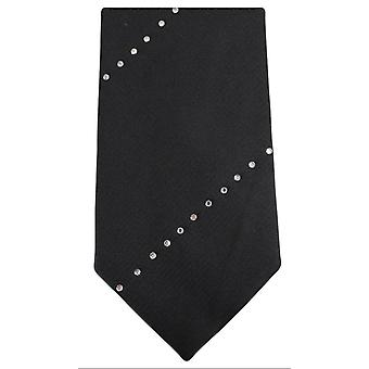 Knightsbridge Neckwear stripete Diamante Tie - svart/sølv