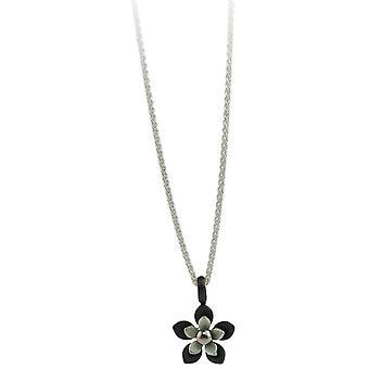 Ti2 Titanium svart tilbake fem kronblad blomst anheng - Aqua blå