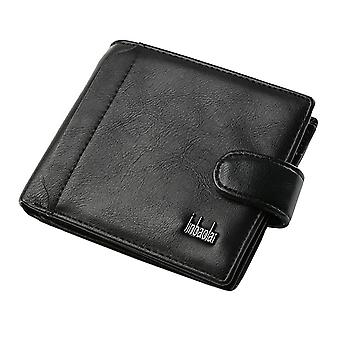 GENUINE Leather Wallet Mens Black Money Purse ID