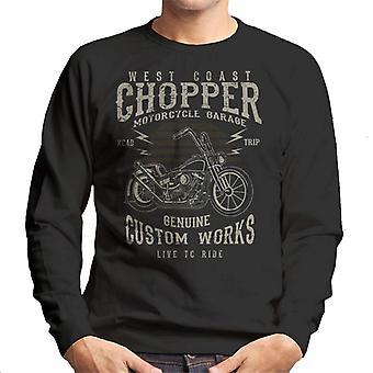 Vintage länsirannikolla Chopper moottoripyörä autotalli miesten svetaripaita