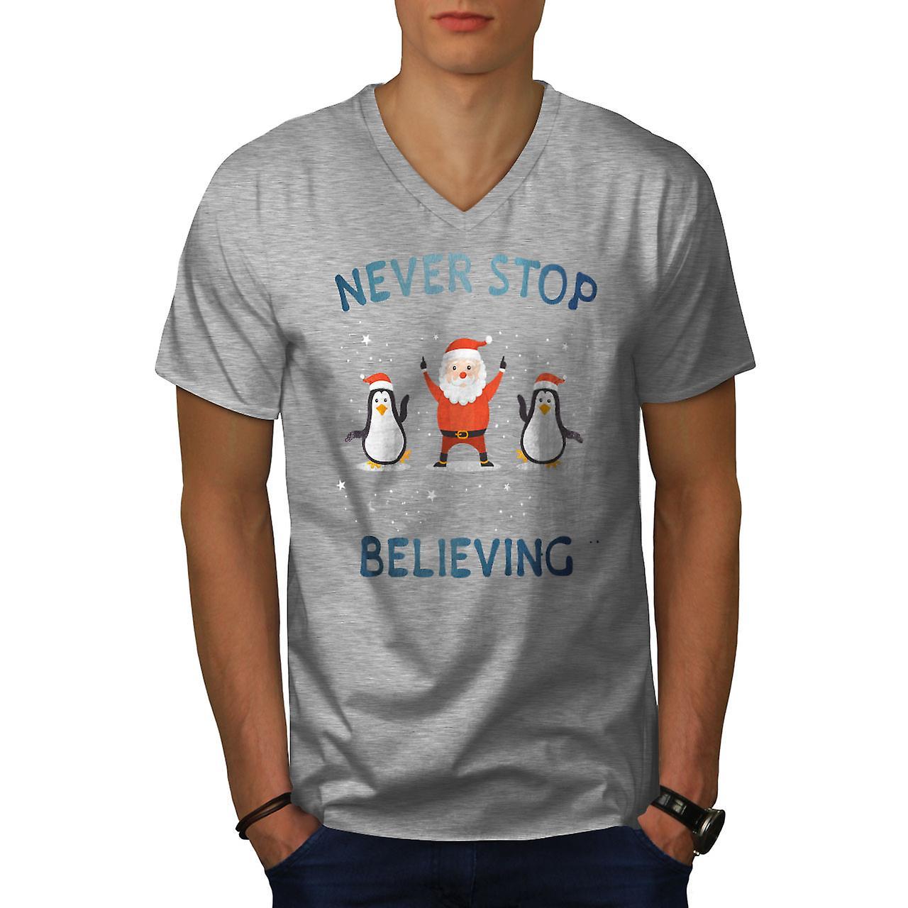 Holidays Christmas Men GreyV-Neck T-shirt | Wellcoda