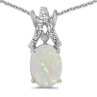 LXR 14k Vit Guld Oval Opal och Diamant hänge 0.56 ct