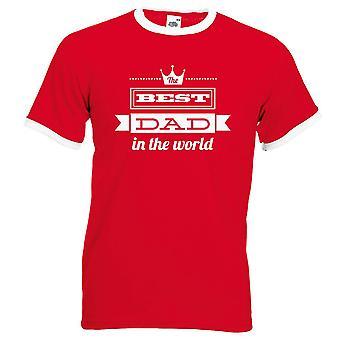 Migliore papà nel mondo Tshirt rosso Top bianco