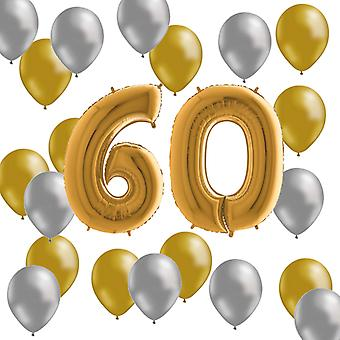 Balloons Birthday Mix 60 years Gold/Silver