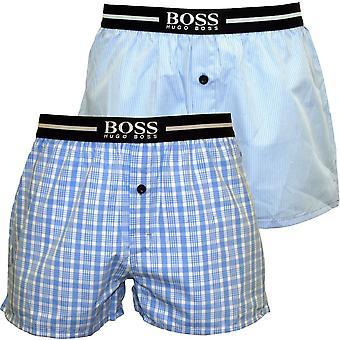 Boss 2-Pack cocher & Stripe, caleçons boxeur, bleu ciel