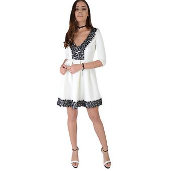 Lovemysyle White Skater Dress With Black Lace V-Neckline