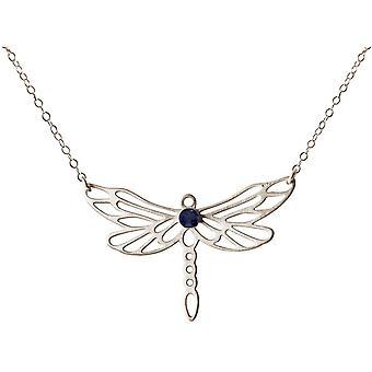 Dragonfly de collier de Gemshine avec la pierre précieuse bleue d'iolite dans l'argent plein 925