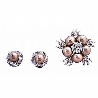 Бронзовый Swarovski жемчуг стад с бронзовый жемчуг Diamante брошь