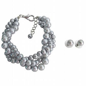 Hochzeit Set Brautjungfer Schmuck 3 Strang graue Perle Armband Ohrstecker