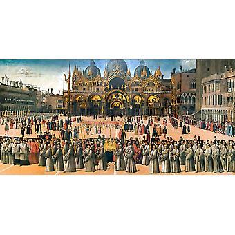 Prozession auf dem Markusplatz, Heidnische Bellini, 80x40cm