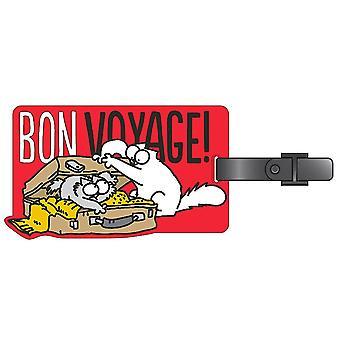 Simon's cat Bon Voyage bagage tags/hvid, trykt, 100% plastic.