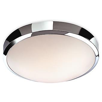 Firstlight-LED badkamer flush plafond licht chroom, witte polycarbonaat diffuser IP44-2343CH