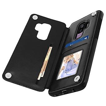 Shockproof Case Samsung Galaxy S9 Plus, Card Holder Wallet, Forcell, black
