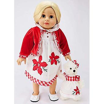 """18"""" Puppe Kleidung rotes Samtkleid mit passenden Bär Urlaub"""