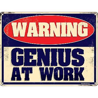 Grindstore Genius At Work Mini Tin Sign