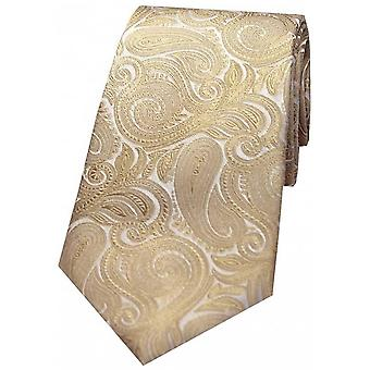 David Van Hagen luxe Paisley zijden stropdas - Beige