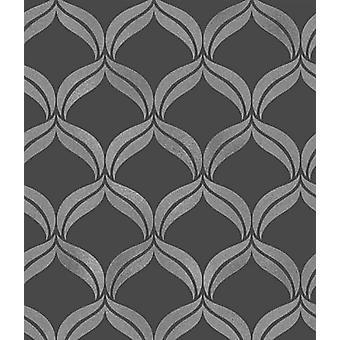 Black Grey Glitter Sparkle Geometric Wallpaper Textured Vinyl Fine Decor