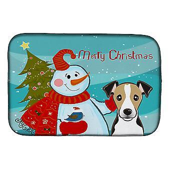 Carolines trésors BB1881DDM bonhomme de neige avec Jack Russell Terrier plat Mat de séchage