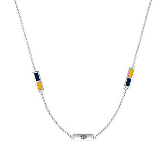 Nashville Predators Plata Esterlina Grabado Triple Station Collar en Azul y Amarillo