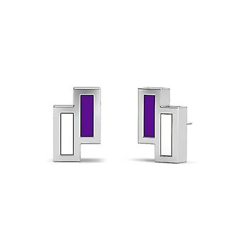 New York University Sterling Silver Asymmetric Enamel Stud Earrings In Purple and White