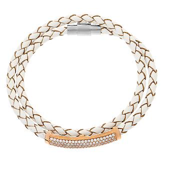 Orphelia Silver 925 Bracelet Rose Leather Zirconium  ZA-6012