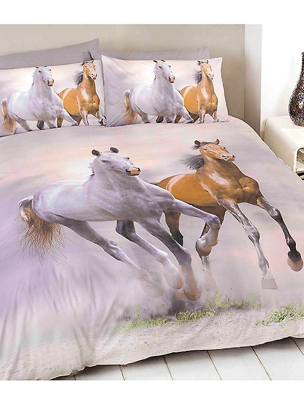 Galloping Horses Duvet Cover and Pillowcase Set