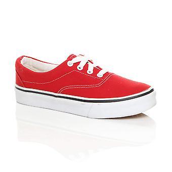 Ajvani Womens canvas lace up pumps plimsolls trainers sneakers skate shoes