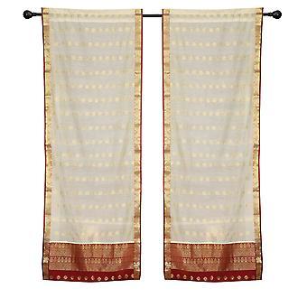 2 Creme böhmische indische Sari Vorhänge Rod Tasche Wohnzimmer Fenster Behandlung
