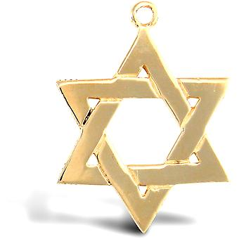 Jewelco London Solid 9ct Yellow Gold Star of David Charm Pendant
