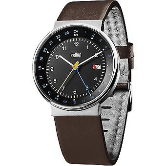 Braun classic gent gmt Japanese Quartz Analog Man Watch with BN0142BKBKG Synthetic Leather Bracelet
