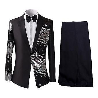 Alle Themen Men's 2-teilige Tuxedos Spliced Pailletten Bühnenanzüge Blazer & Hose