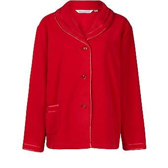 "Slenderella Red 25"" Long Sleeve Fleece Bedjacket BJ6320"