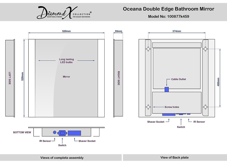 Oceana Double Edge Bathroom Mirror With Demister Pad & Sensor k459
