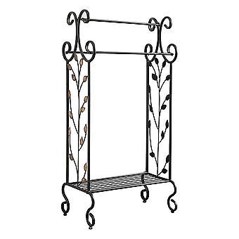 Benzara gold leaves metal towel rack stand with shelf, black
