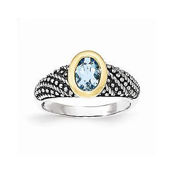 925 sterling silver med 14K lt Swiss Blue Topaz Ring-Ring storlek: 7 till 8