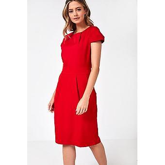 iClothing Sara Cap Sleeve Tulip Dress In Red-16