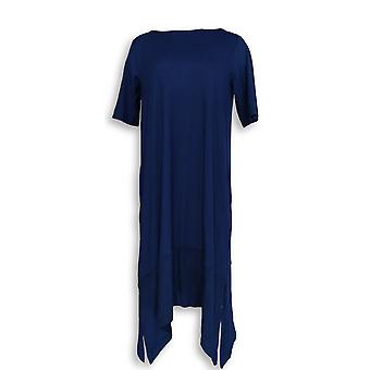 Cuddl Duds Women's Gowns Flexwear Elbow Sleeve Rainbow Hem Blue A346868