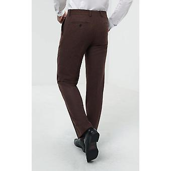 Dobell Mens Brown Flannel Suit Trousers Regular Fit