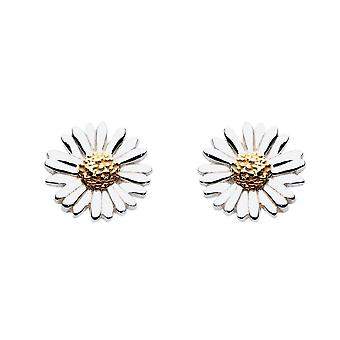 Dew Sterling Silver Daisy With Gold Plate Stud Earrings 4081GD016