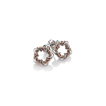 Hot Diamonds Sterling Silver Vine Rose Gold Plate Accents Earrings DE620