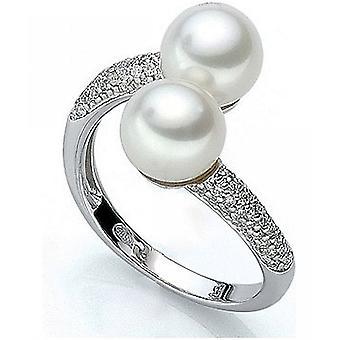 Luna-parels Diamond Ring met Zuid-zee kralen M_S2_R